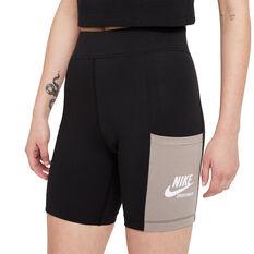 Nike Womens Sportswear Heritage Shorts Black XS, Black, rebel_hi-res