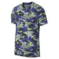 Nike Mens Breathe Rise 365 Running Tee Green / Purple S, Green / Purple, rebel_hi-res