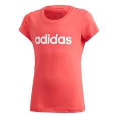 adidas Girls Essentials Linear Tee Pink 6, Pink, rebel_hi-res