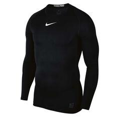 Nike Pro Mens Top Black / White S, Black / White, rebel_hi-res