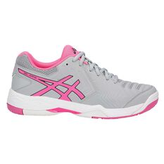 Asics Gel Game 6 Womens Netball Shoes Grey / Pink US 6, Grey / Pink, rebel_hi-res