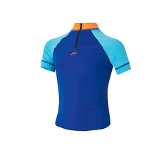 Speedo Toddler Boys Short Sleeve Sun Top Blue / Orange US 2, Blue / Orange, rebel_hi-res