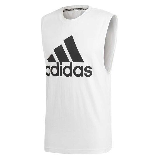 adidas Mens Must Haves Badge of Sport Tank, White / Black, rebel_hi-res