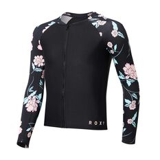 Roxy Girls Love The Surf Long Sleeve Zip Rash Vest Black / Print 8, Black / Print, rebel_hi-res
