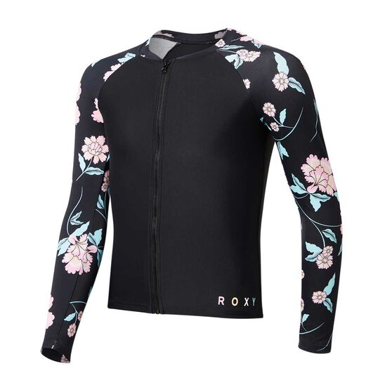 Roxy Girls Love The Surf Long Sleeve Zip Rash Vest, Black / Print, rebel_hi-res
