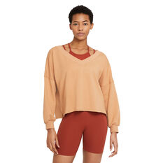 Nike Womens Yoga Fleece V-Neck Top Orange XS, Orange, rebel_hi-res