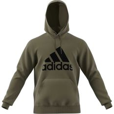 adidas Mens Must Haves Badge of Sport Fleece Pullover Hoodie Khaki S, Khaki, rebel_hi-res