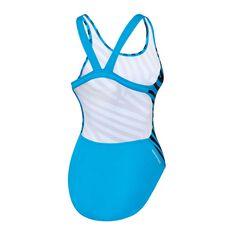 Speedo Girls School Colours Leaderback Swimsuit Black/Blue 6 Junior, Black/Blue, rebel_hi-res