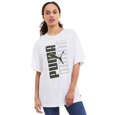 Puma Womens Rebel Graphic Tee, White, rebel_hi-res