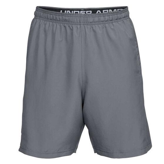 Under Armour Mens Woven Graphic Wordmark Shorts, Grey, rebel_hi-res
