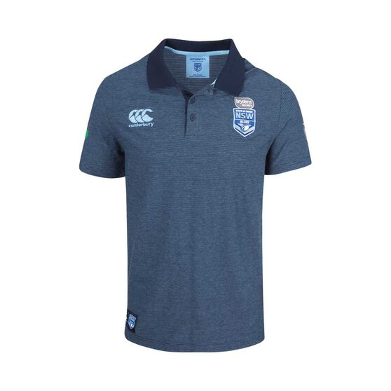 NSW Blues State of Origin 2018 Mens Framework Yarn Dye Polo Shirt S, , rebel_hi-res