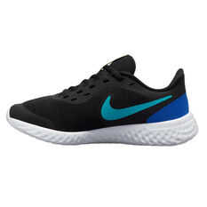 Nike Revolution 5 Kids Running Shoes Black / Blue US 4, Black / Blue, rebel_hi-res