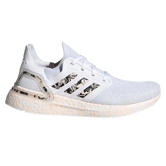 adidas Ultraboost 20 Womens Running Shoes, White/Pink, rebel_hi-res