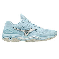 Mizuno Wave Stealth V Womens Netball Shoes Blue / White US 6.5, Blue / White, rebel_hi-res