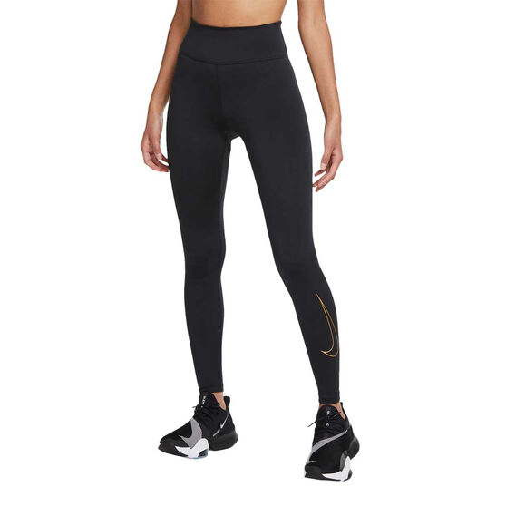 Nike One Womens Icon Clash Tights, Black, rebel_hi-res