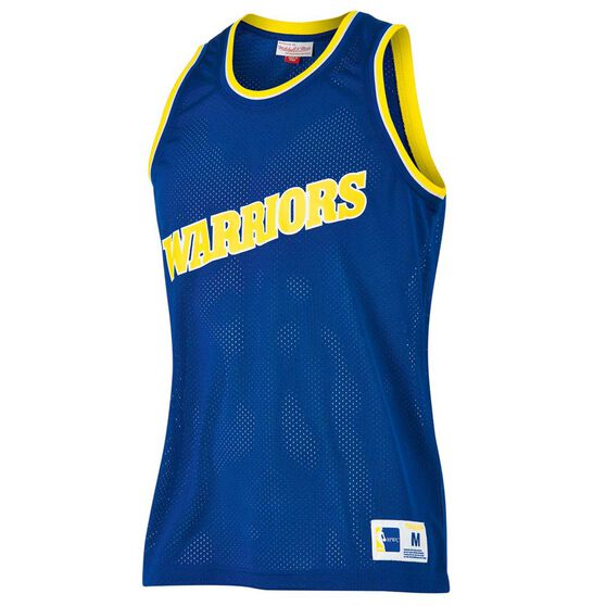 Mitchell and Ness Mens Golden State Warriors Mesh Tank, Blue, rebel_hi-res