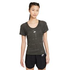 Nike Air Womens Dri-FIT Running Tee Black XS, Black, rebel_hi-res