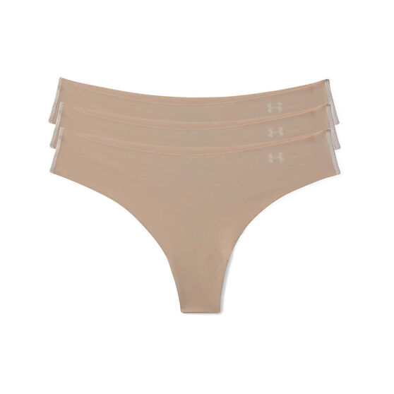 Under Armour Womens Pure Stretch Thong Briefs 3 Pack, Beige, rebel_hi-res