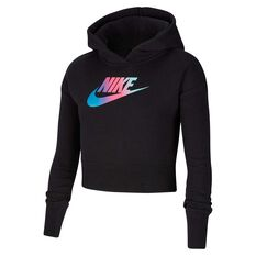Nike Girls Cropped Hoodie Black / White XS, Black / White, rebel_hi-res