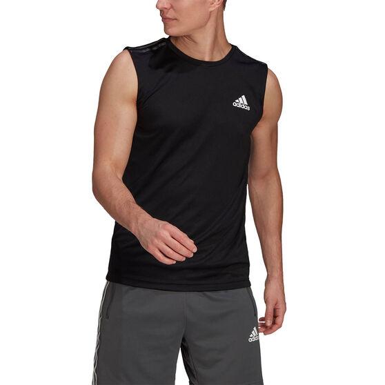 adidas Designed 2 Move Mens 3-Stripes Tank Top, Black, rebel_hi-res