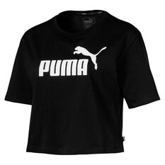 Puma Womens Essentials Cropped Tee Black XS, Black, rebel_hi-res