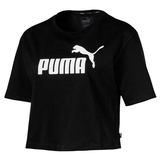 Puma Womens Essentials Cropped Tee, Black, rebel_hi-res