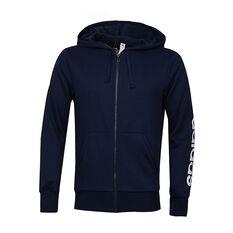 adidas Mens Essentials Linear Hoodie Navy S adult, Navy, rebel_hi-res