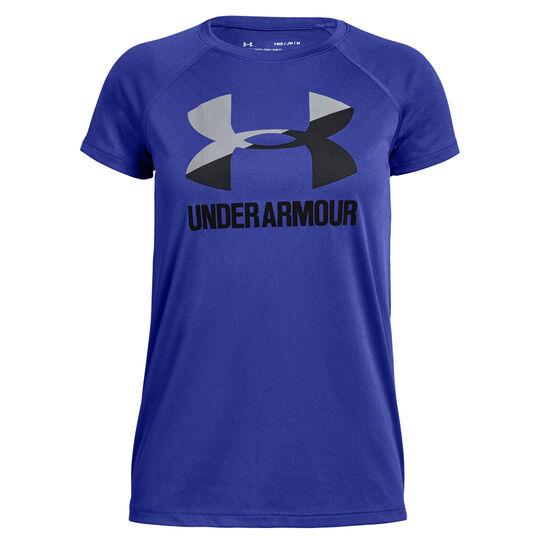 Under Armour Girls Solid Big Logo Tee, Purple, rebel_hi-res