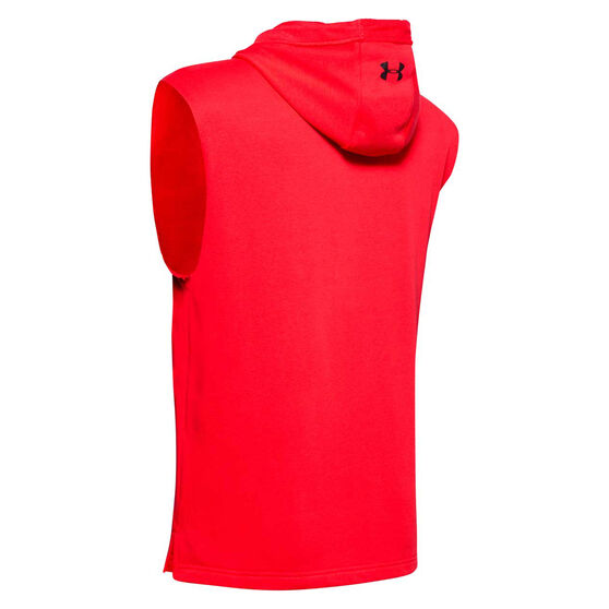 Under Armour Mens Project Rock Terry Sleeveless Hoodie, Red, rebel_hi-res