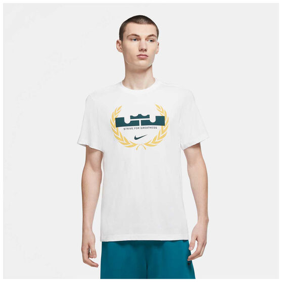 Nike Mens Dri-FIT LeBron Logo Basketball Tee, White, rebel_hi-res