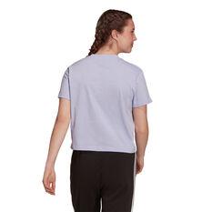 adidas Womens Essentials Loose 3-Stripes Cropped Tee Purple XS, Purple, rebel_hi-res