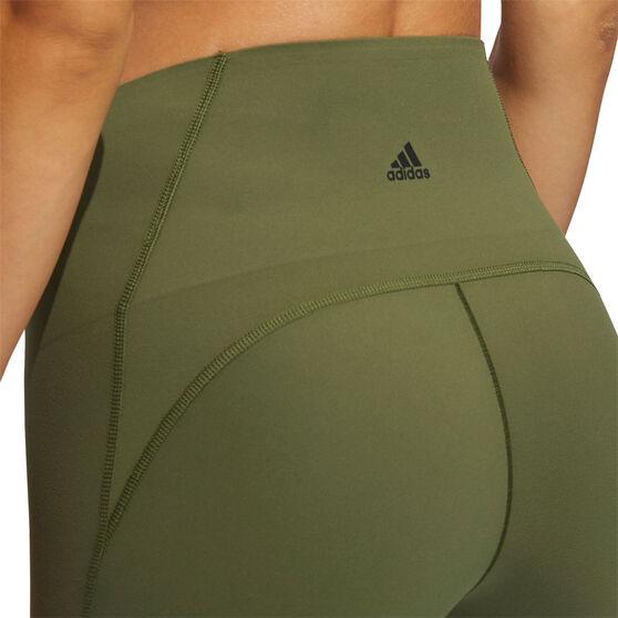 adidas Womens Elevate Yoga Flow 7/8 Tights, Khaki, rebel_hi-res