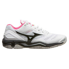 Mizuno Wave Stealth V Womens Netball Shoes White / Black US 6.5, White / Black, rebel_hi-res