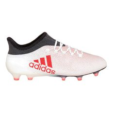 adidas X 17.1 FG Mens Football Boots Grey / Red US 7 Adult, Grey / Red, rebel_hi-res