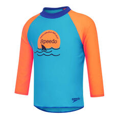 Speedo Boys Leisure Noah Long Sleeve Rash Vest Blue/Orange 2, Blue/Orange, rebel_hi-res