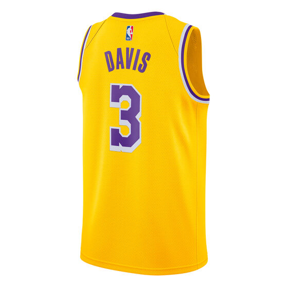 Nike Los Angeles Lakers Anthony Davis 2020/21 Mens Icon Edition Authentic Jersey, Yellow, rebel_hi-res