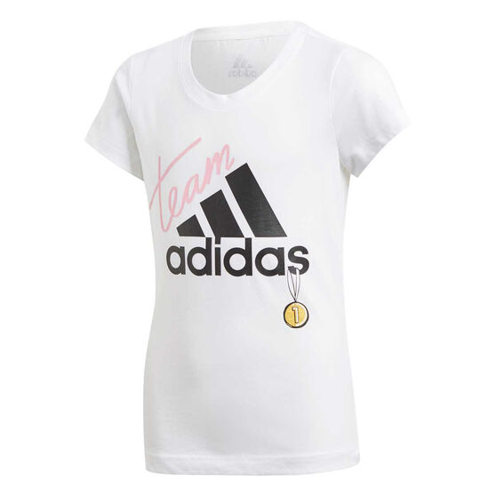 adidas Girls ID Graphic Training Tee, White / Black, rebel_hi-res