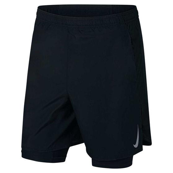 Nike Mens Challenger 2-in-1 7in Shorts, Black, rebel_hi-res