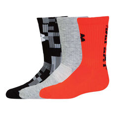 Under Armour Boys Next Statement Crew Socks Black / Grey, , rebel_hi-res