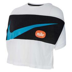 Nike Girls Short Sleeve Crop Tee White / Black XS, White / Black, rebel_hi-res