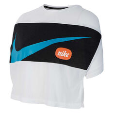 Nike Girls Short Sleeve Crop Tee, White / Black, rebel_hi-res