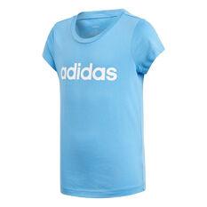 adidas Girls Essentials Linear Tee Blue / White 6, Blue / White, rebel_hi-res