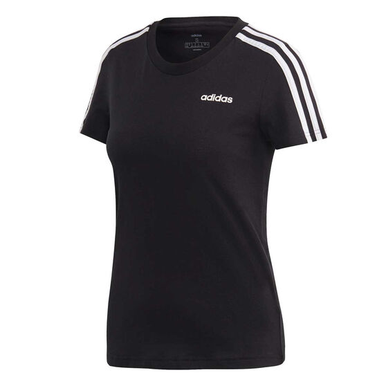 adidas Womens Essentials 3 Stripes Tee, Black / White, rebel_hi-res