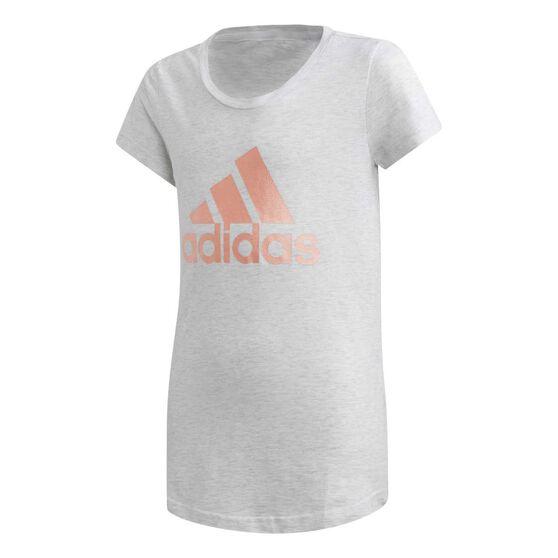 adidas Girls Winner Training Tee, White / Grey, rebel_hi-res