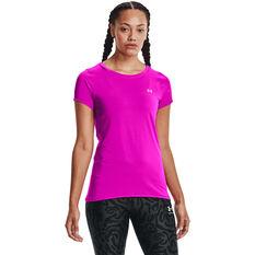 Under Armour Womens HeatGear Armour Tee Pink XS, Pink, rebel_hi-res