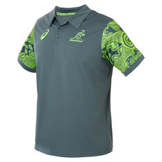 Wallabies 2019 Mens Rugby World Cup Indigenous Polo Green M, Green, rebel_hi-res