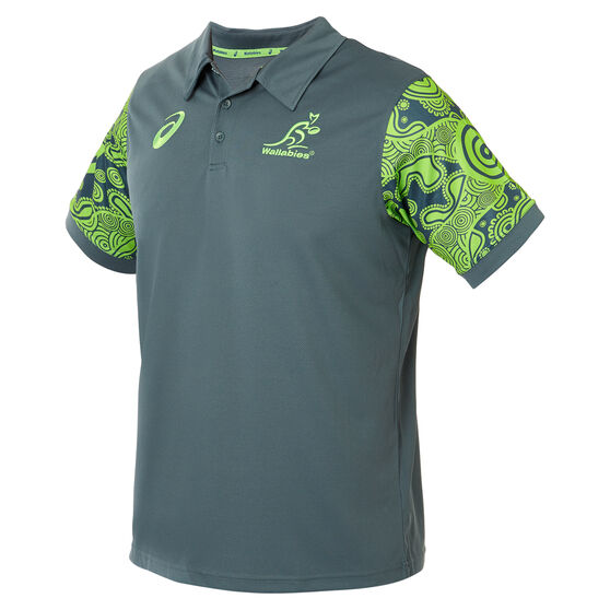 Wallabies 2019 Mens Rugby World Cup Indigenous Polo, Green, rebel_hi-res
