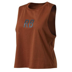 Running Bare Womens Crop It Like Its Hot Cropped Tank Brown 16, Brown, rebel_hi-res