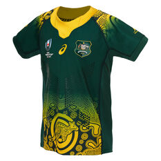 Wallabies 2019 Rugby World Cup Kids Away Jersey Green 10, , rebel_hi-res