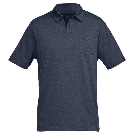 Under Armour Mens Charged Cotton Scramble Polo Shirt, Navy, rebel_hi-res